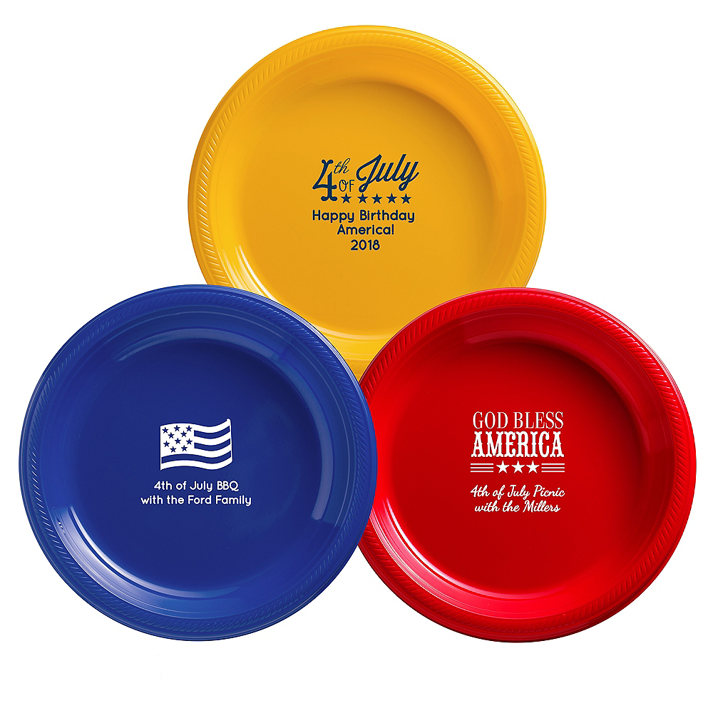 Personalized 4th of July Plastic Dinner Plates Image #1