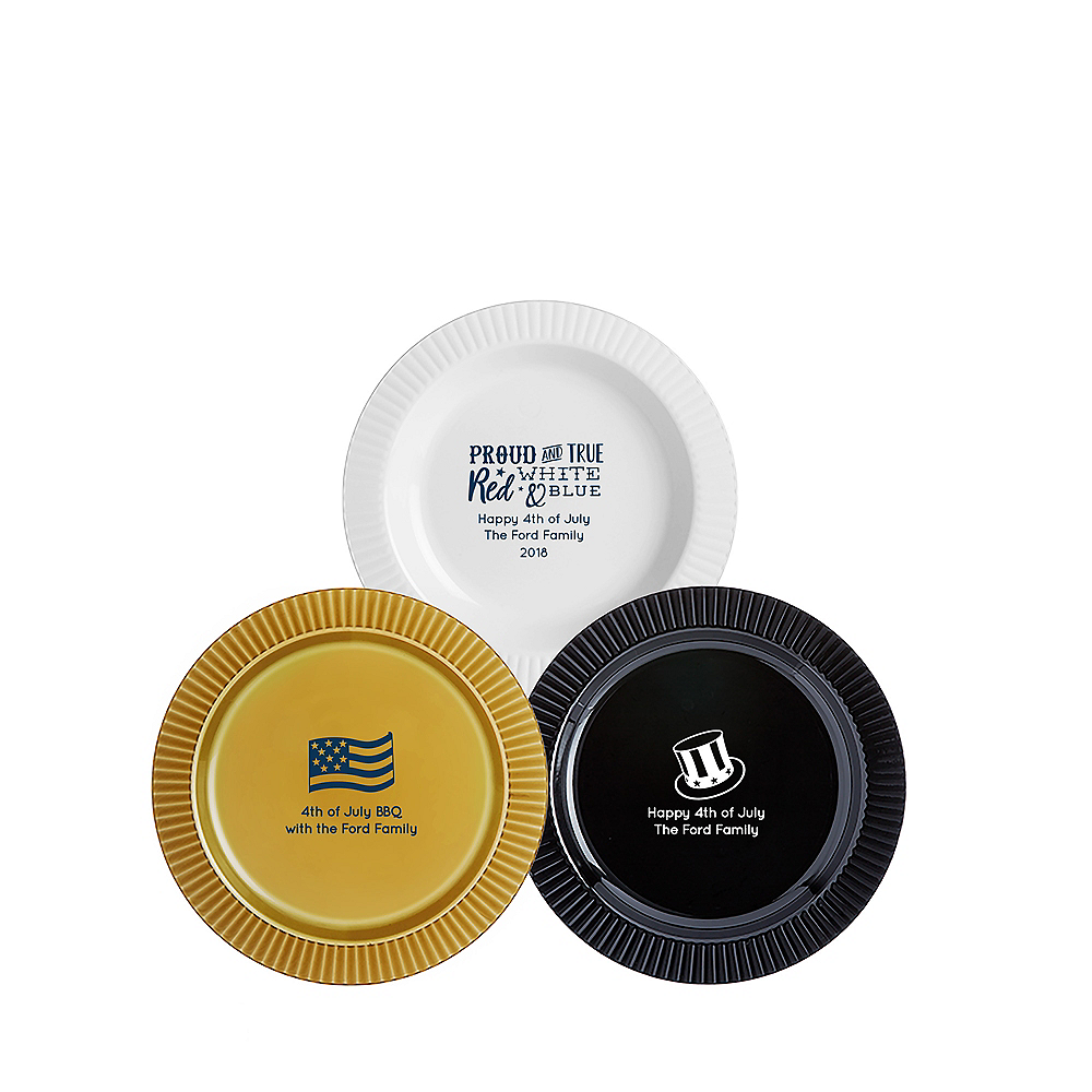 Personalized 4th of July Premium Plastic Dessert Plates Image #1