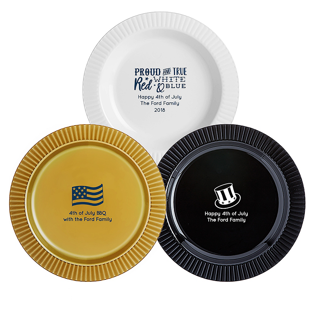 Personalized 4th of July Premium Plastic Dinner Plates Image #1