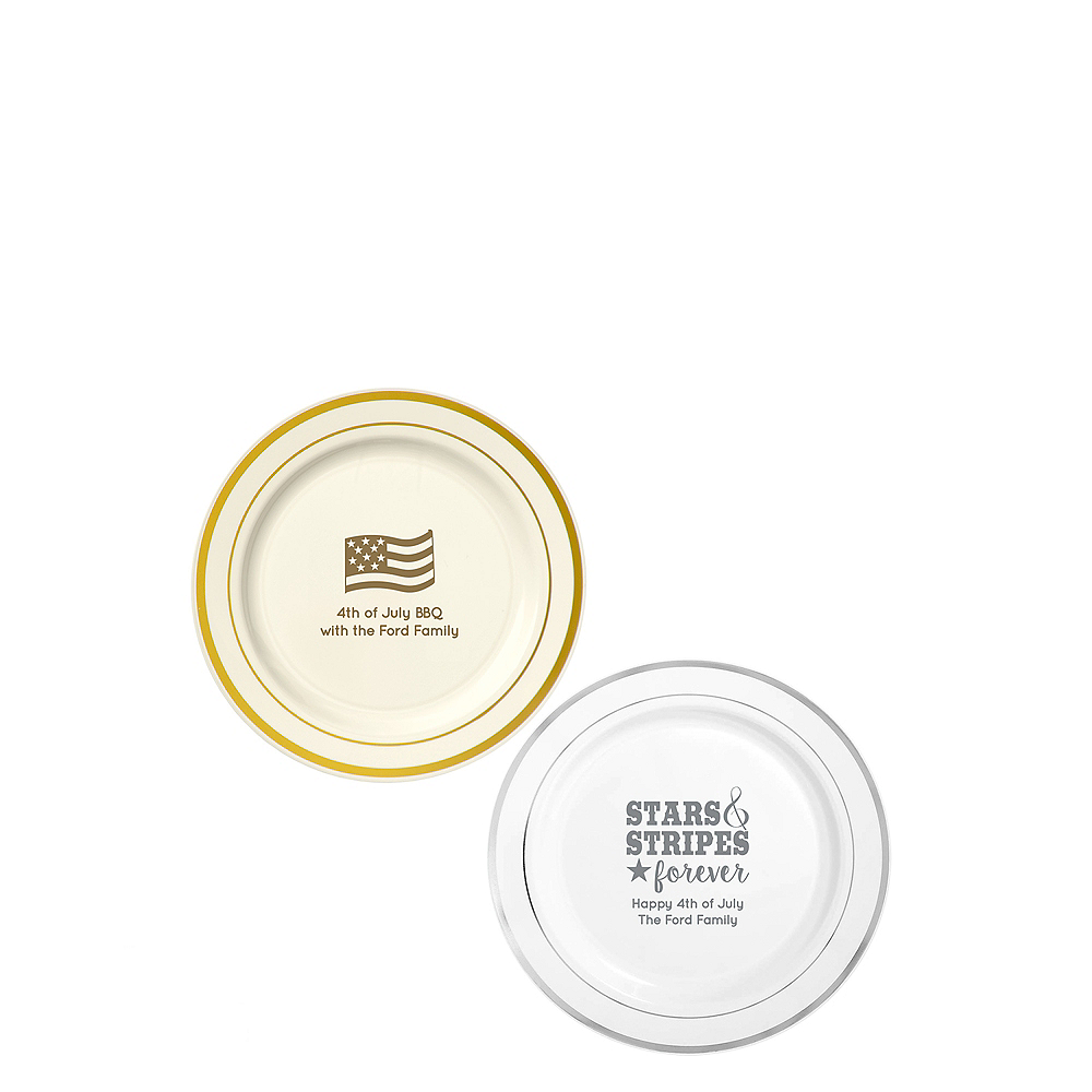 Personalized 4th of July Trimmed Premium Plastic Dessert Plates Image #1