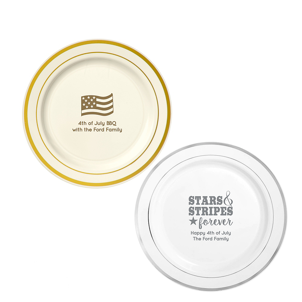 Personalized 4th of July Trimmed Premium Plastic Dinner Plates Image #1