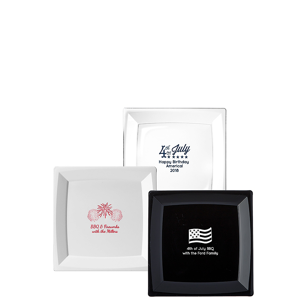 Personalized 4th of July Premium Plastic Square Dessert Plates Image #1
