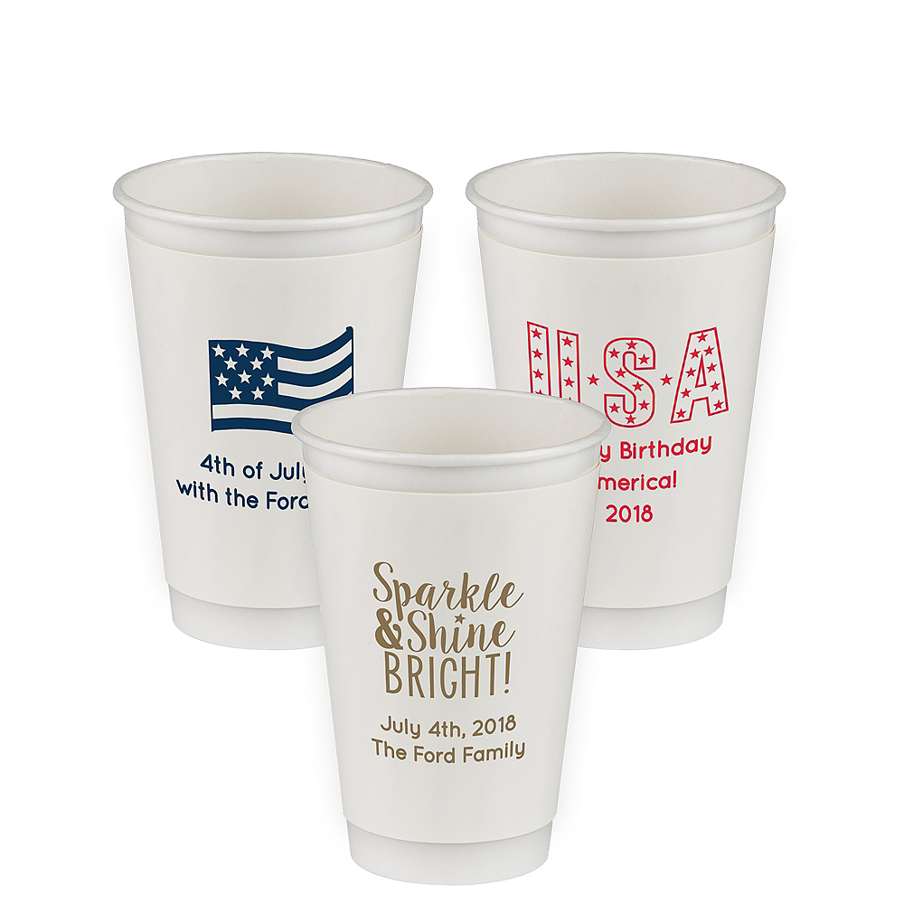 Nav Item for Personalized 4th of July Insulated Paper Cups 20oz Image #1