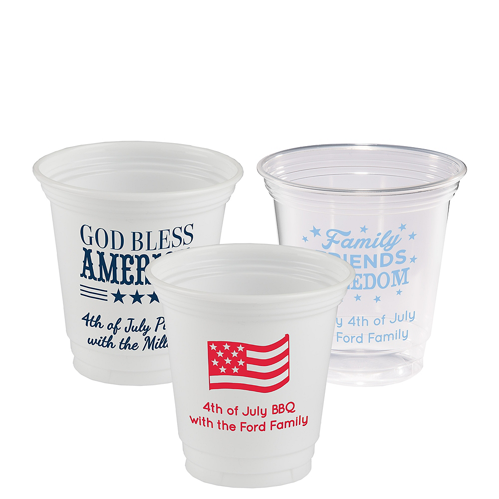 Personalized 4th of July Plastic Party Cups 12oz Image #1