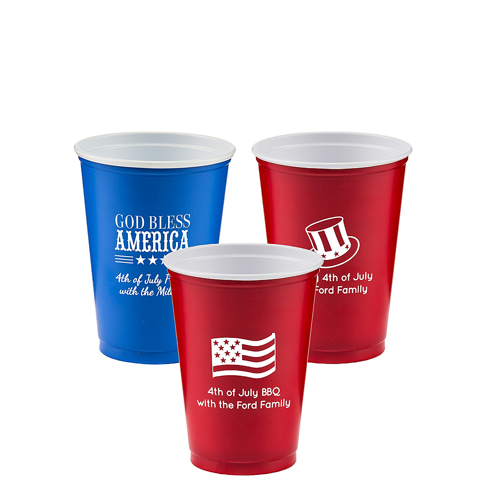 Personalized 4th of July Solid-Color Plastic Party Cups 10oz Image #1