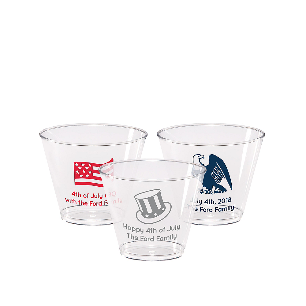 Personalized 4th of July Hard Plastic Cups 9oz Image #1