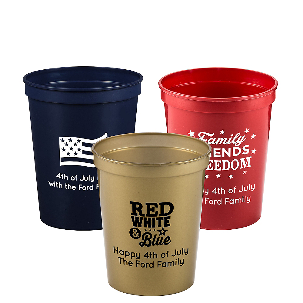 Personalized 4th of July Plastic Stadium Cups 16oz Image #1