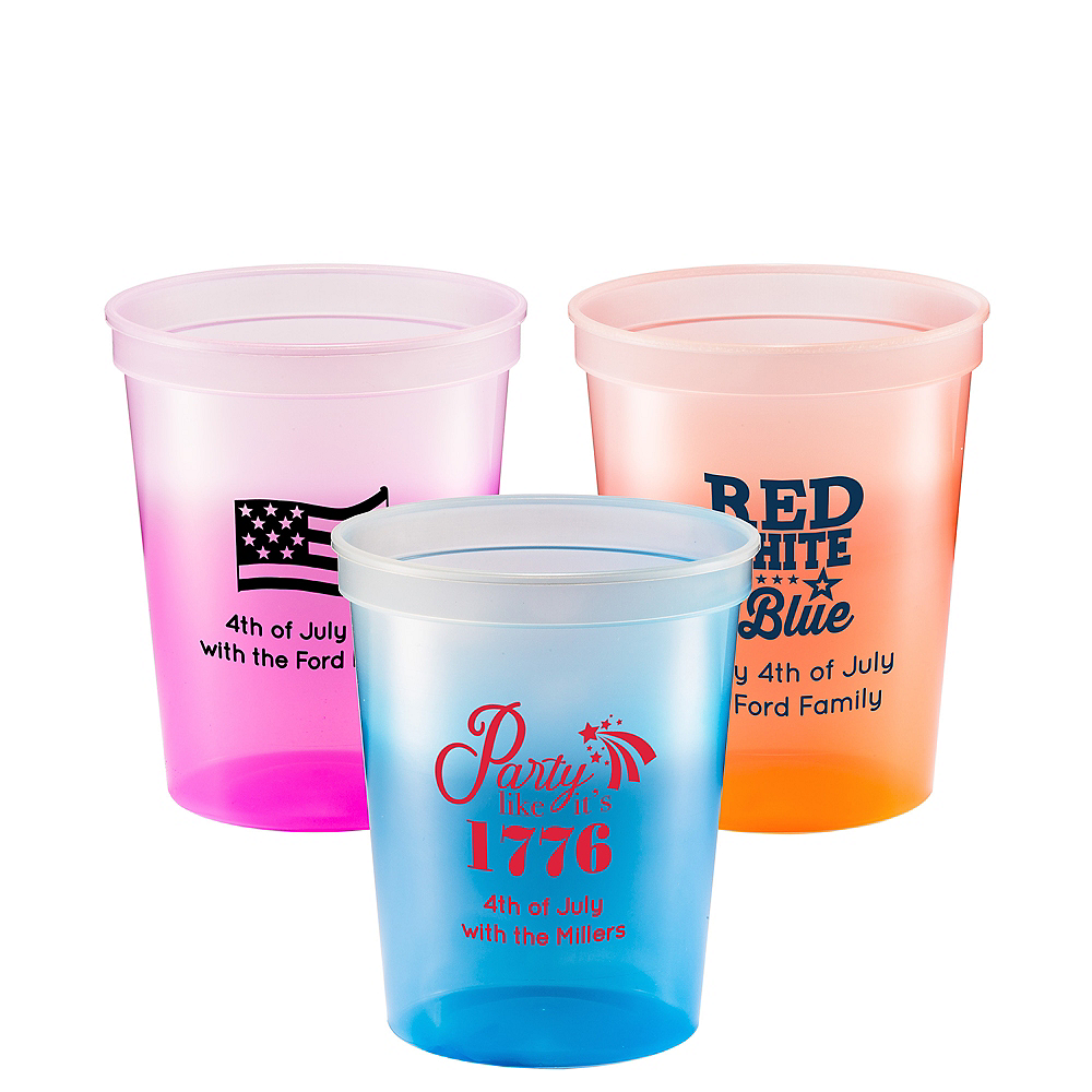 Personalized 4th of July Color-Changing Plastic Stadium Cups 16oz Image #1