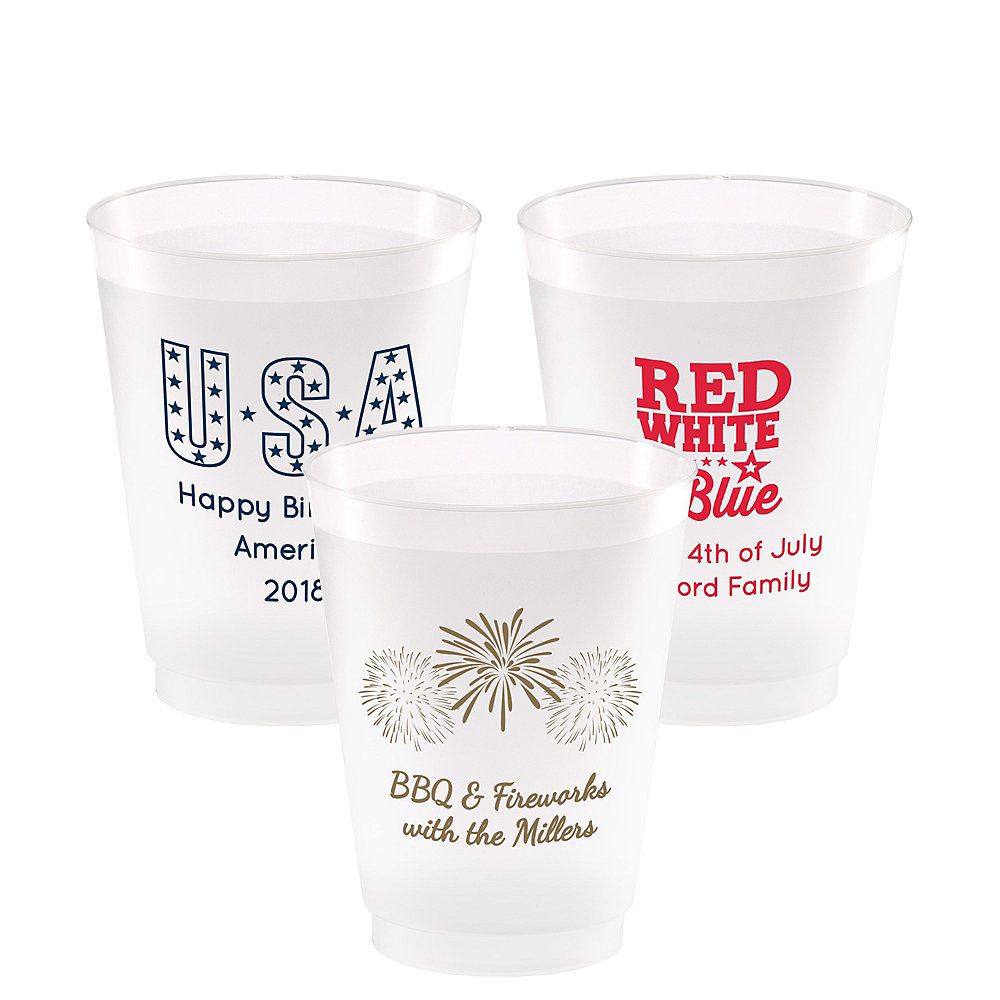 Personalized 4th of July Frosted Plastic Shatterproof Cups 16oz Image #1
