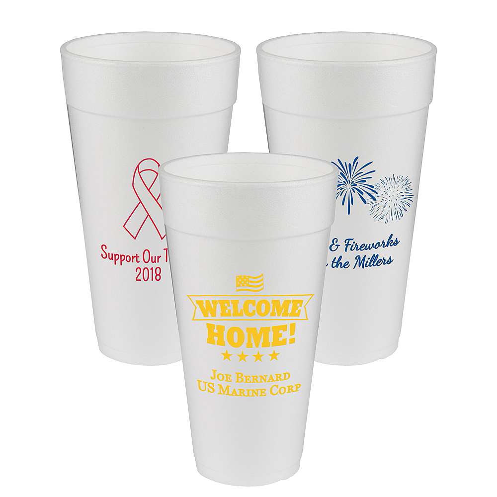 Personalized 4th of July Foam Cups 24oz Image #1