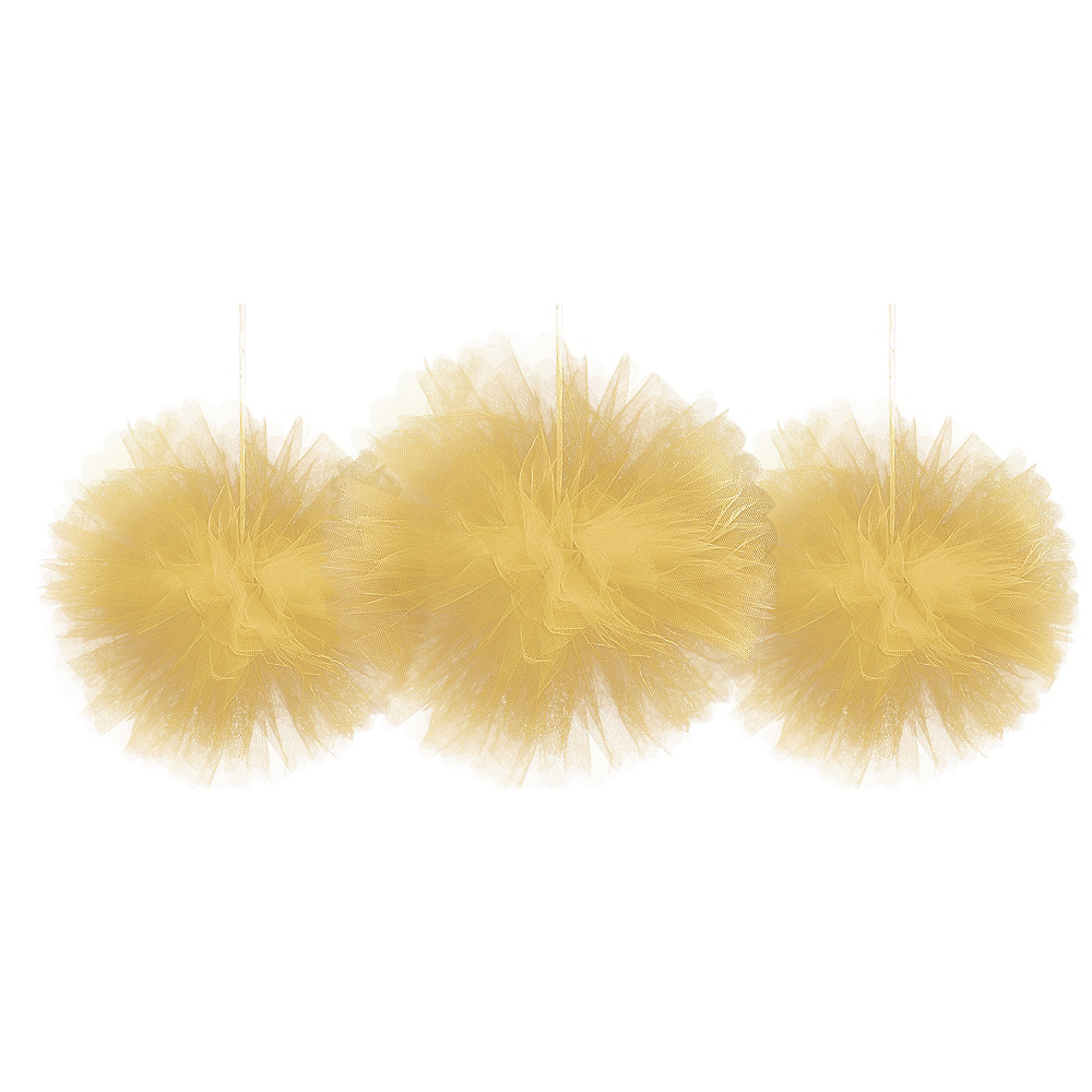 Gold Tulle Pom Poms 3ct Image #1