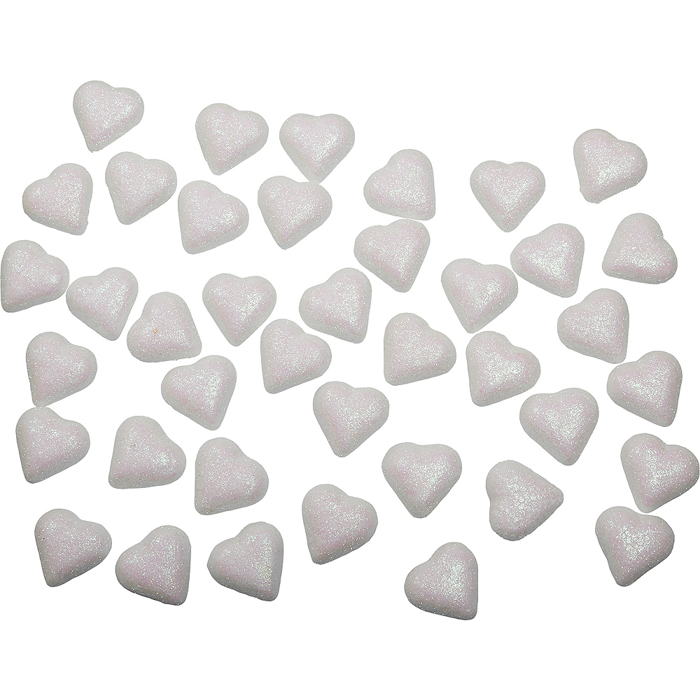 Glitter White Hearts Table Scatter 40ct Image #1