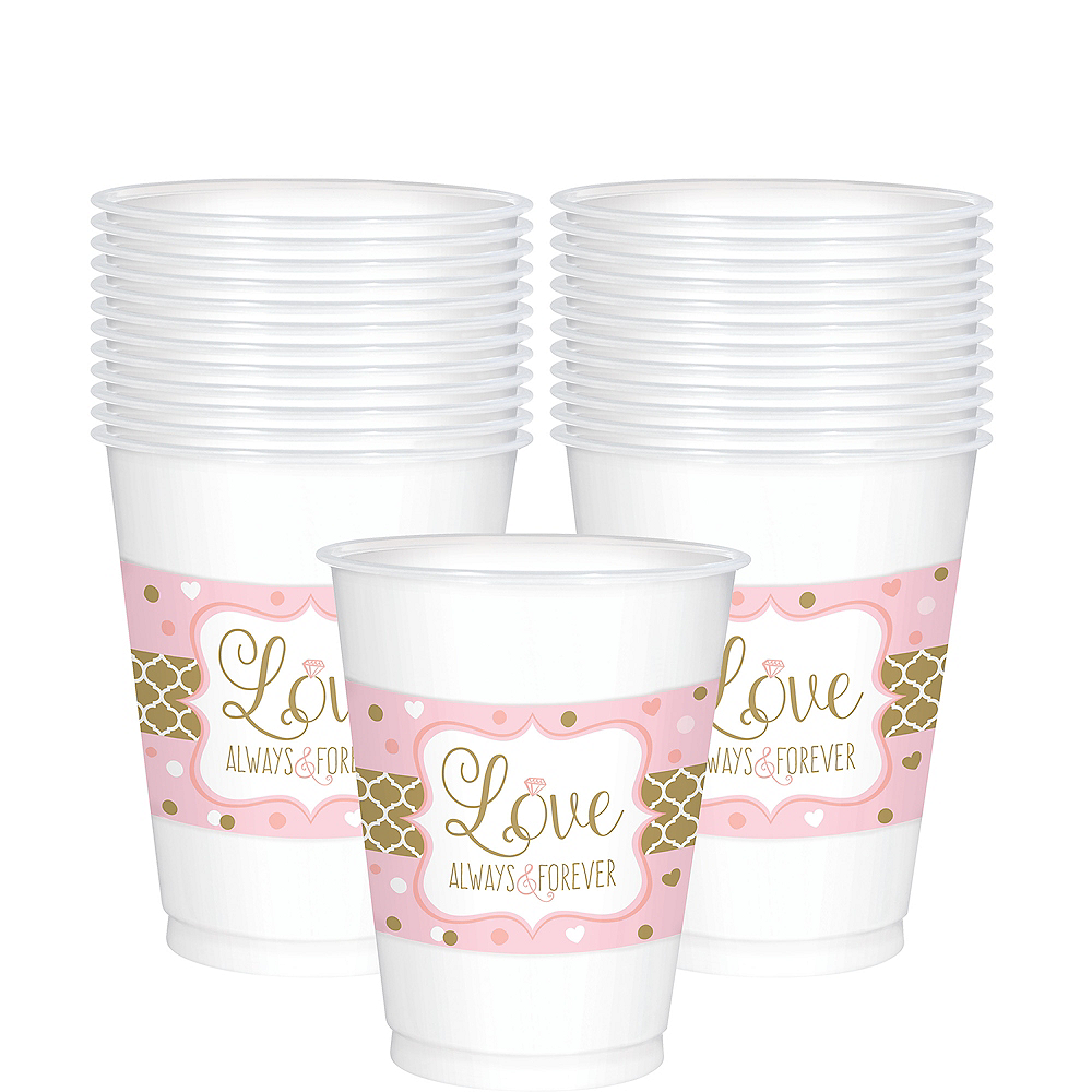 Sparkling Pink Wedding Plastic Cups 25ct Image #1
