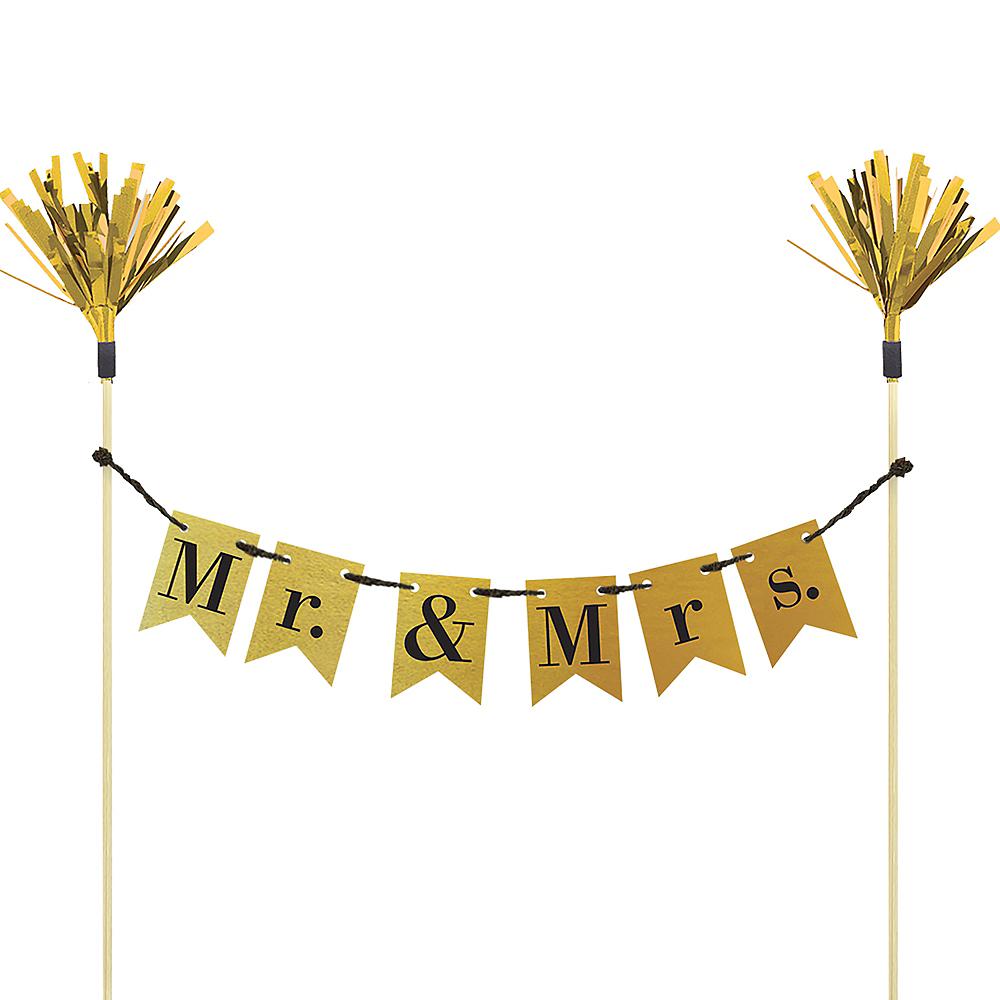 Mr. & Mrs. Wedding Pennant Banner Cake Topper Image #1