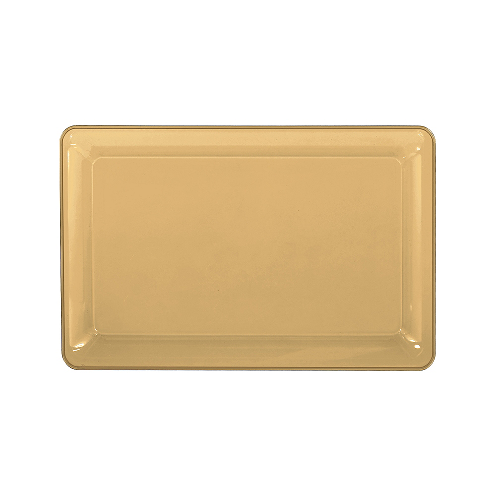 Medium Gold Plastic Rectangular Platter Image #1
