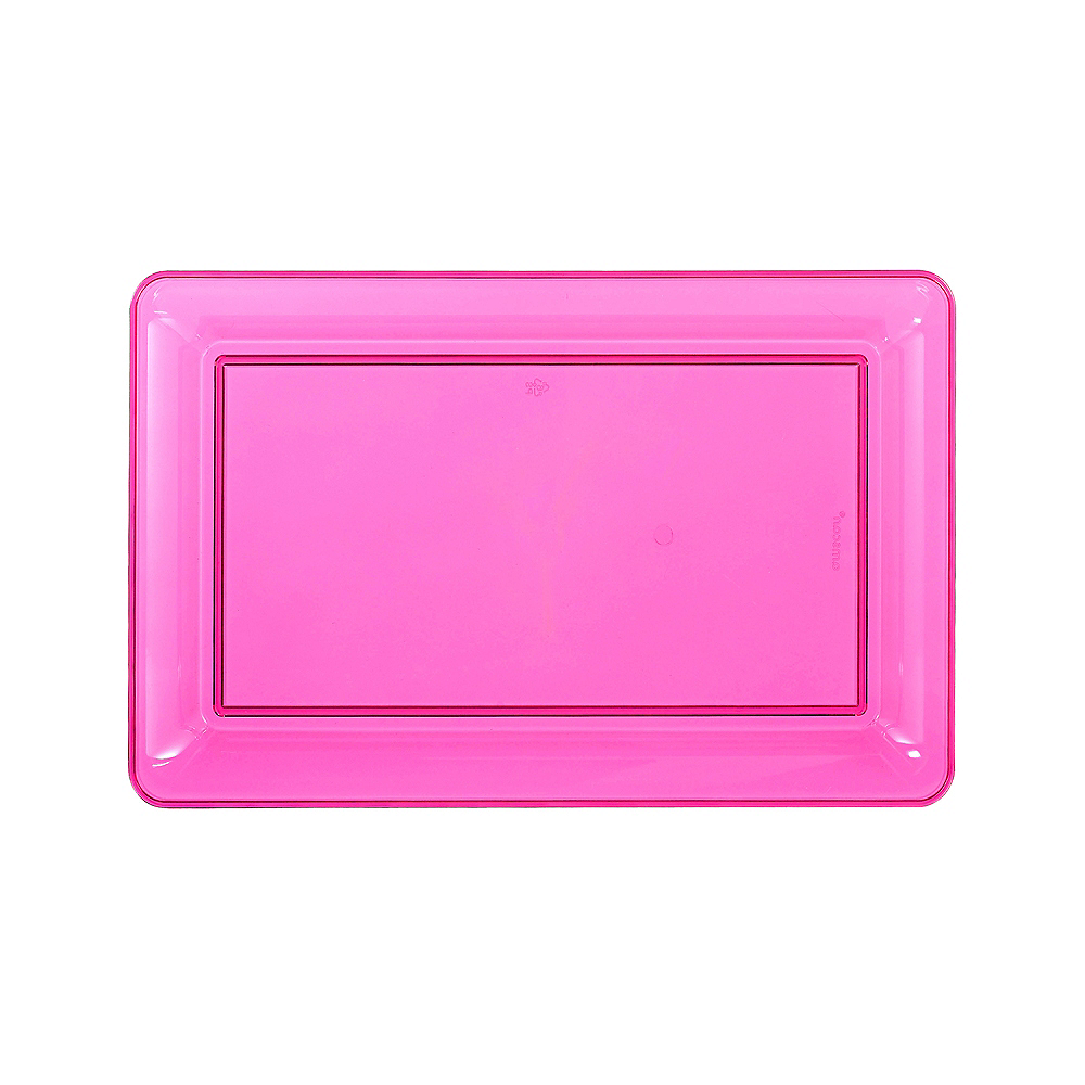 Medium Bright Pink Plastic Rectangular Platter Image #1