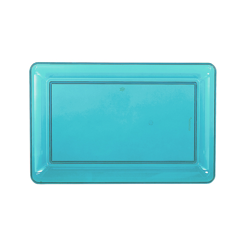 Medium Caribbean Blue Plastic Rectangular Platter Image #1