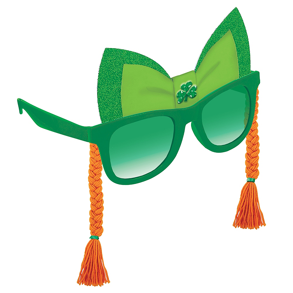 St. Patrick's Day Sunglasses with Braids Image #1