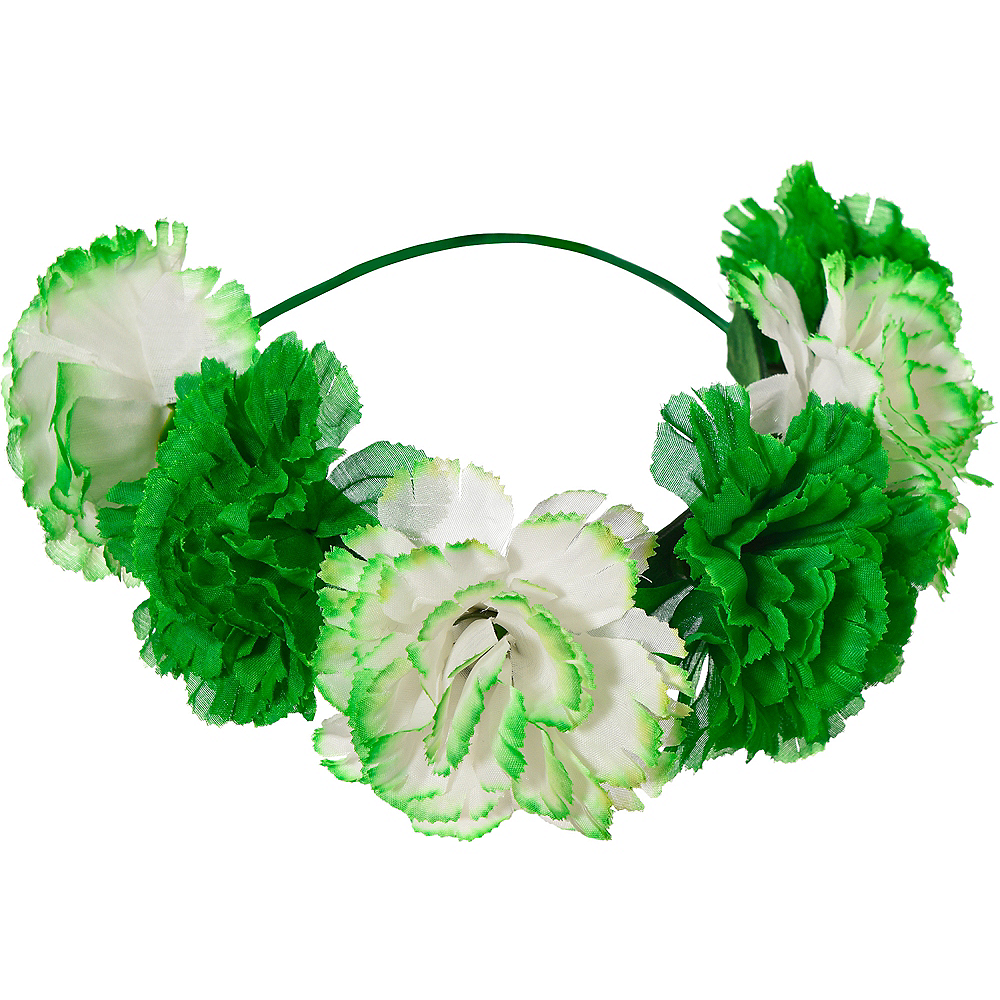 Green & White Floral Headwreath Image #1