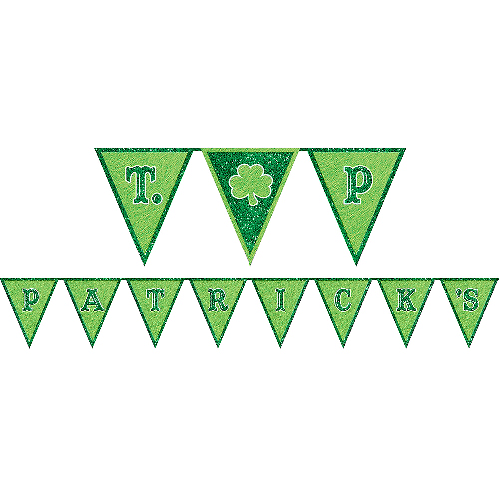 Glitter St. Patrick's Day Pennant Banner Image #1