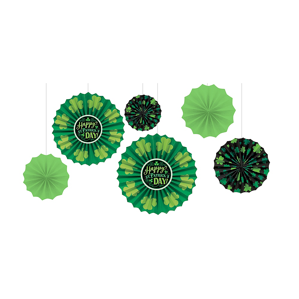 Nav Item for St. Patrick's Day Paper Fan Decorations 6ct Image #1