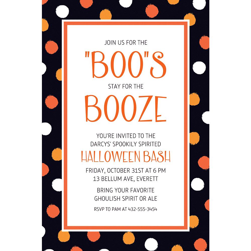 Custom Polka Dot Halloween Invitation Image #1