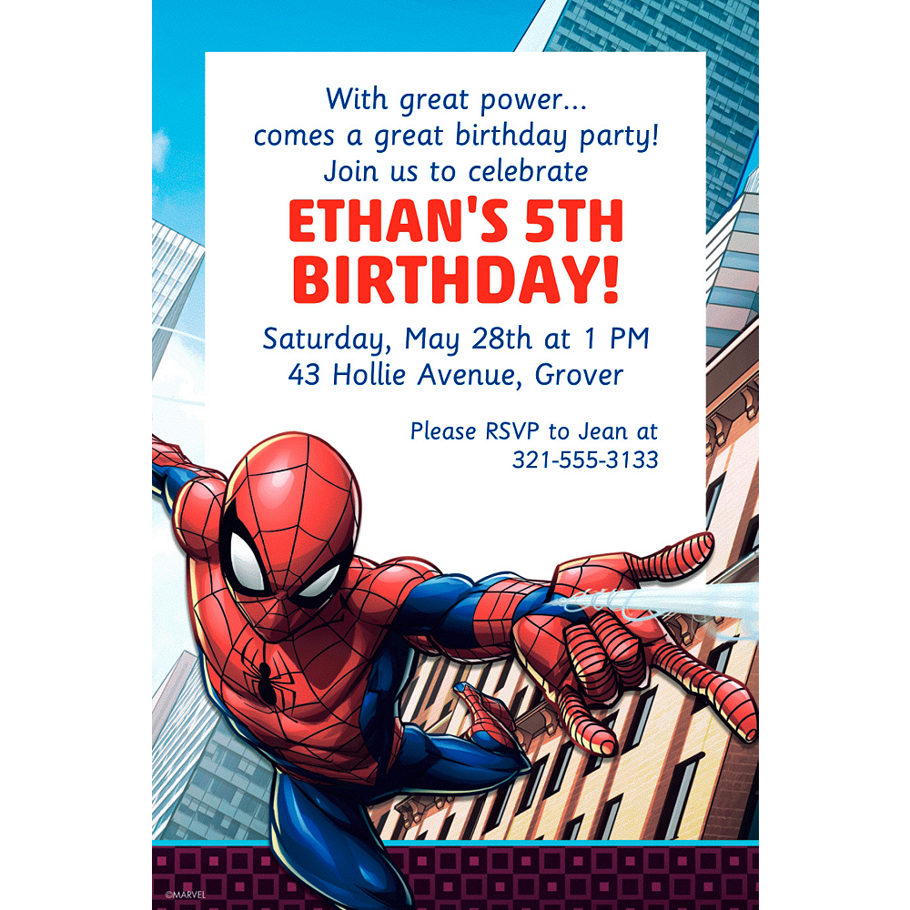 Custom Webbed Wonder Spider Man Invitation Image 1