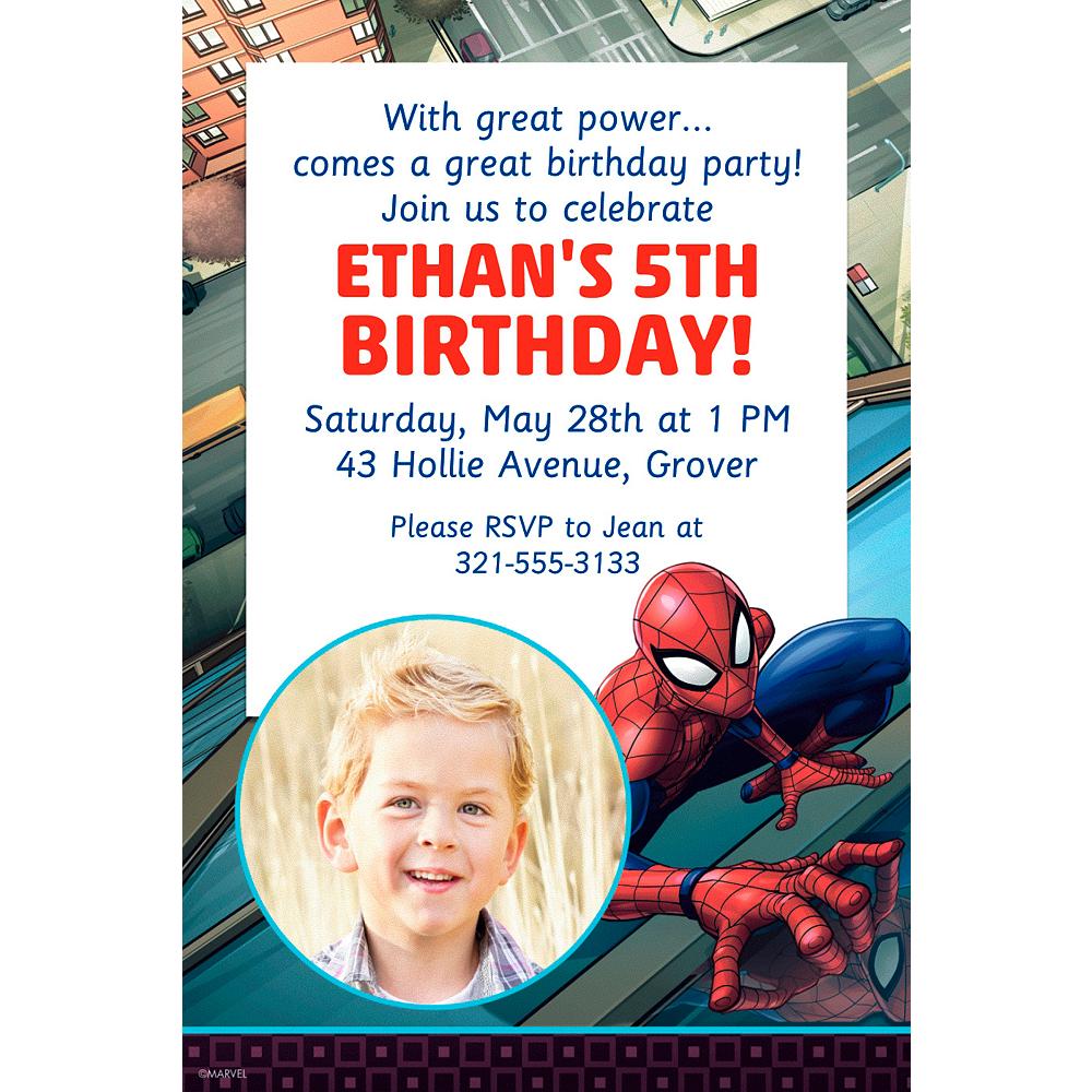 Custom Webbed Wonder Spider Man Photo Invitation Image 1
