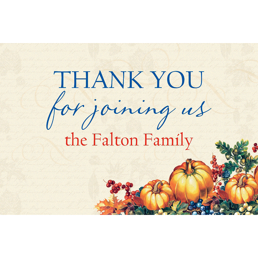 Custom Warm Harvest Fall Thank You Note Image #1