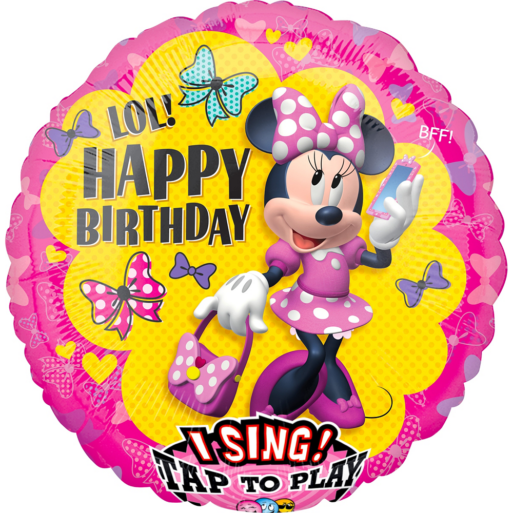 Singing Minnie Mouse Birthday Balloon 28in | Party City