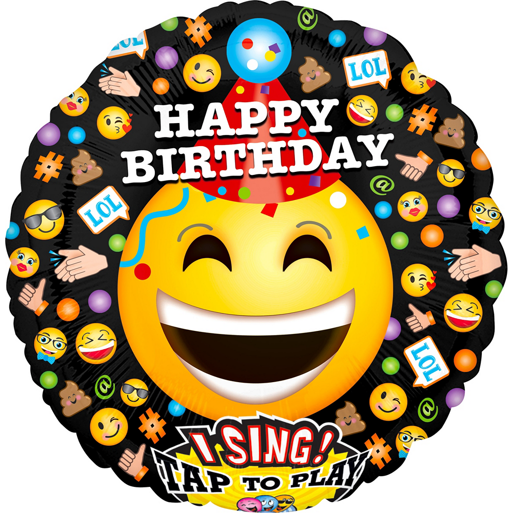 Singing Smiley Birthday Balloon Image 1