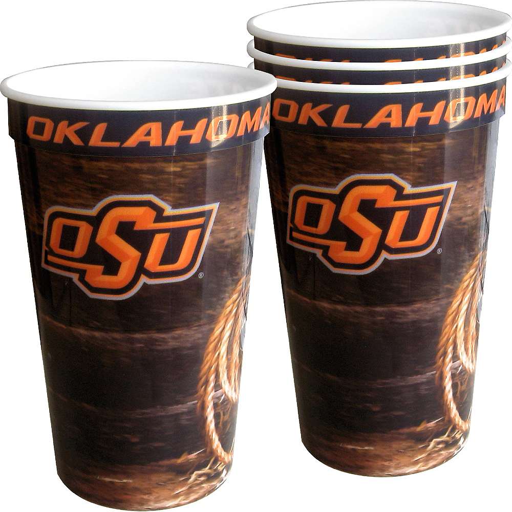 Oklahoma State Cowboys Plastic Cups 4ct Image #1