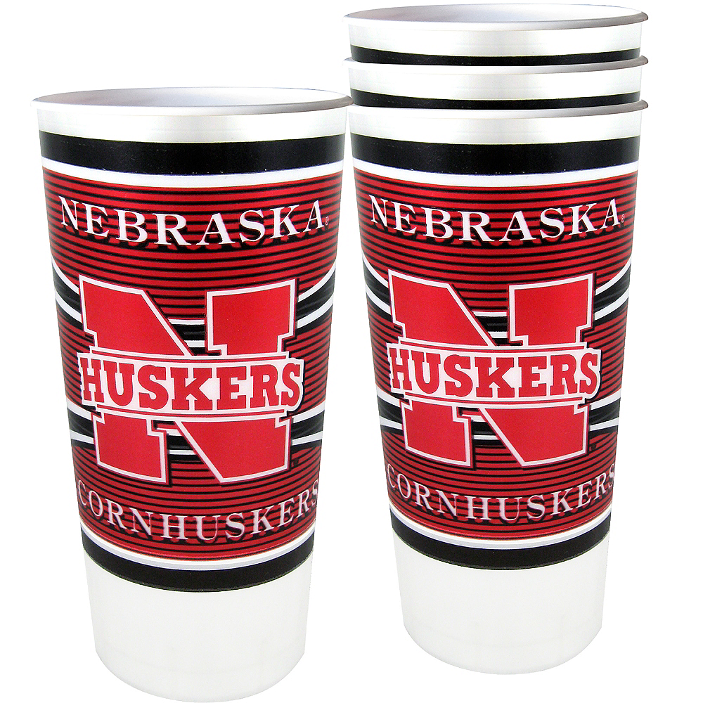 Nav Item for Nebraska Cornhuskers Plastic Cups 4ct Image #1