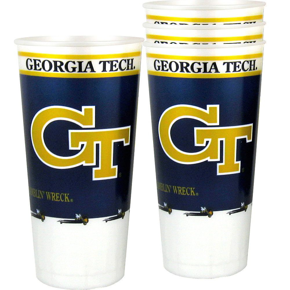 Georgia Tech Yellow Jackets Plastic Cups 4ct Image #1