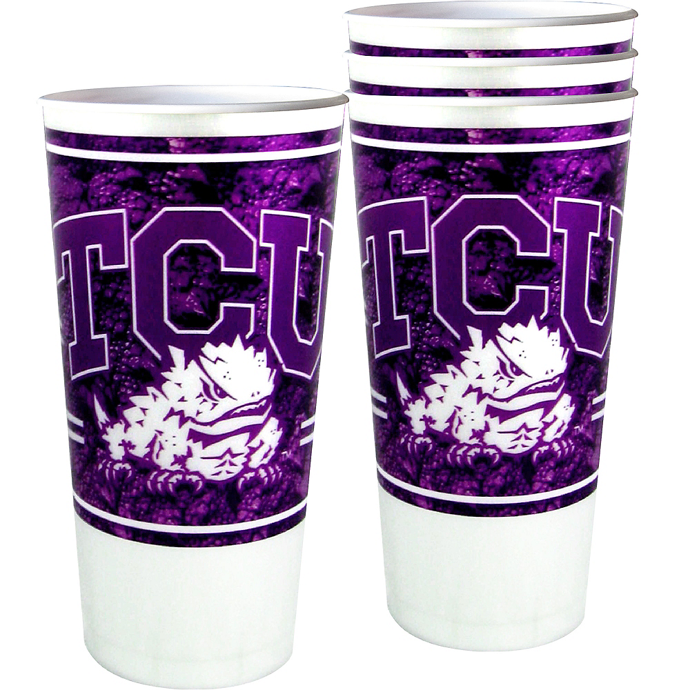 TCU Horned Frogs Plastic Cups 4ct Image #1