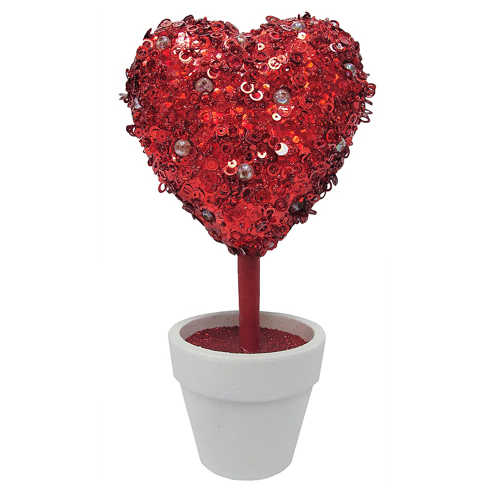 Glitter Red Heart Topiary Image #1