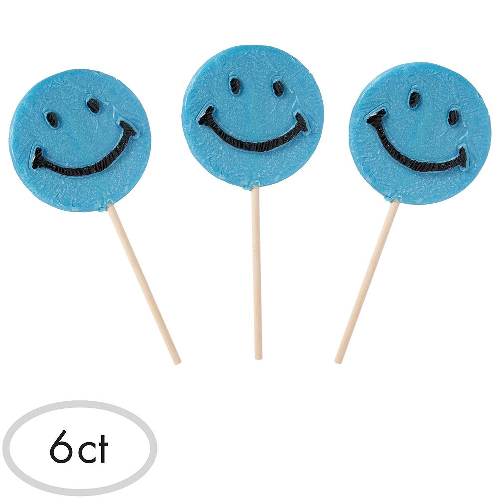 Blue Smiley Lollipops 6ct Image #1