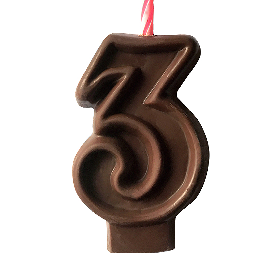 Edible Chocolate Flavored Number 3 Cake Topper with Candle Image #1