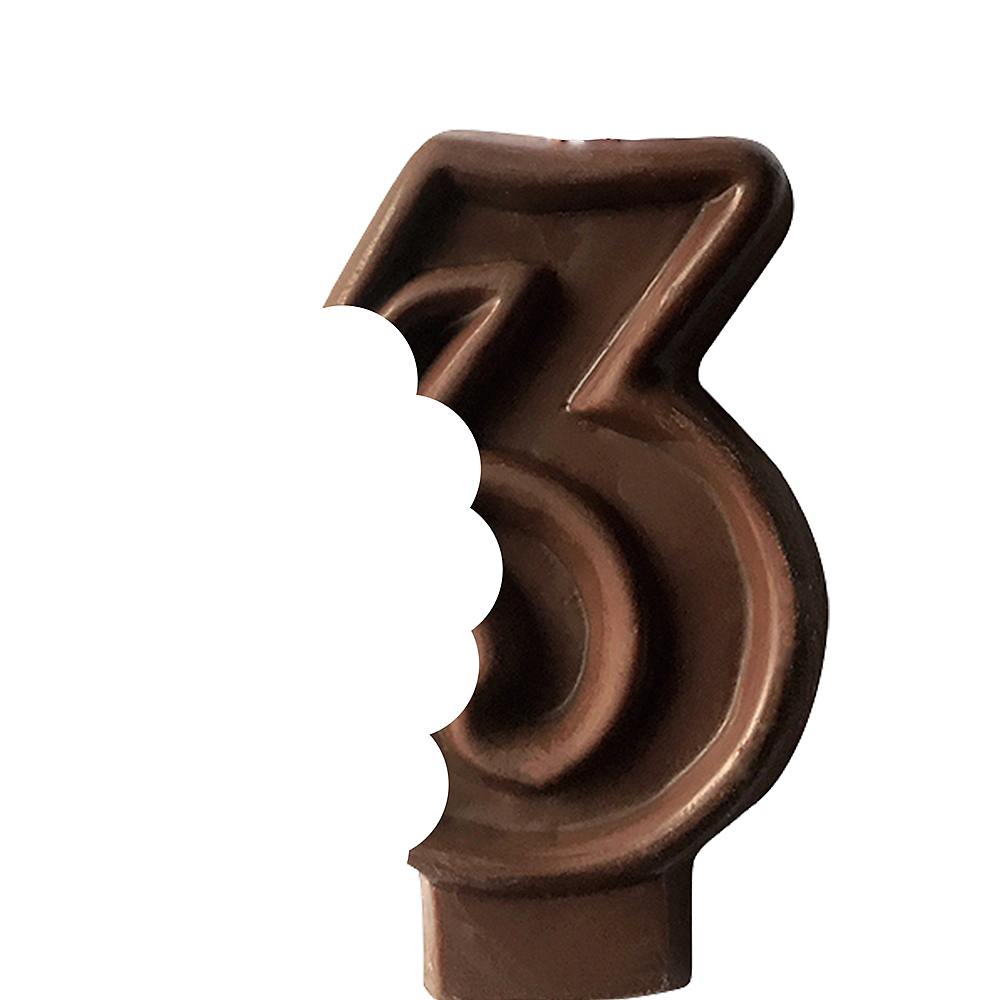 Edible Chocolate Flavored Number 3 Cake Topper with Candle Image #2