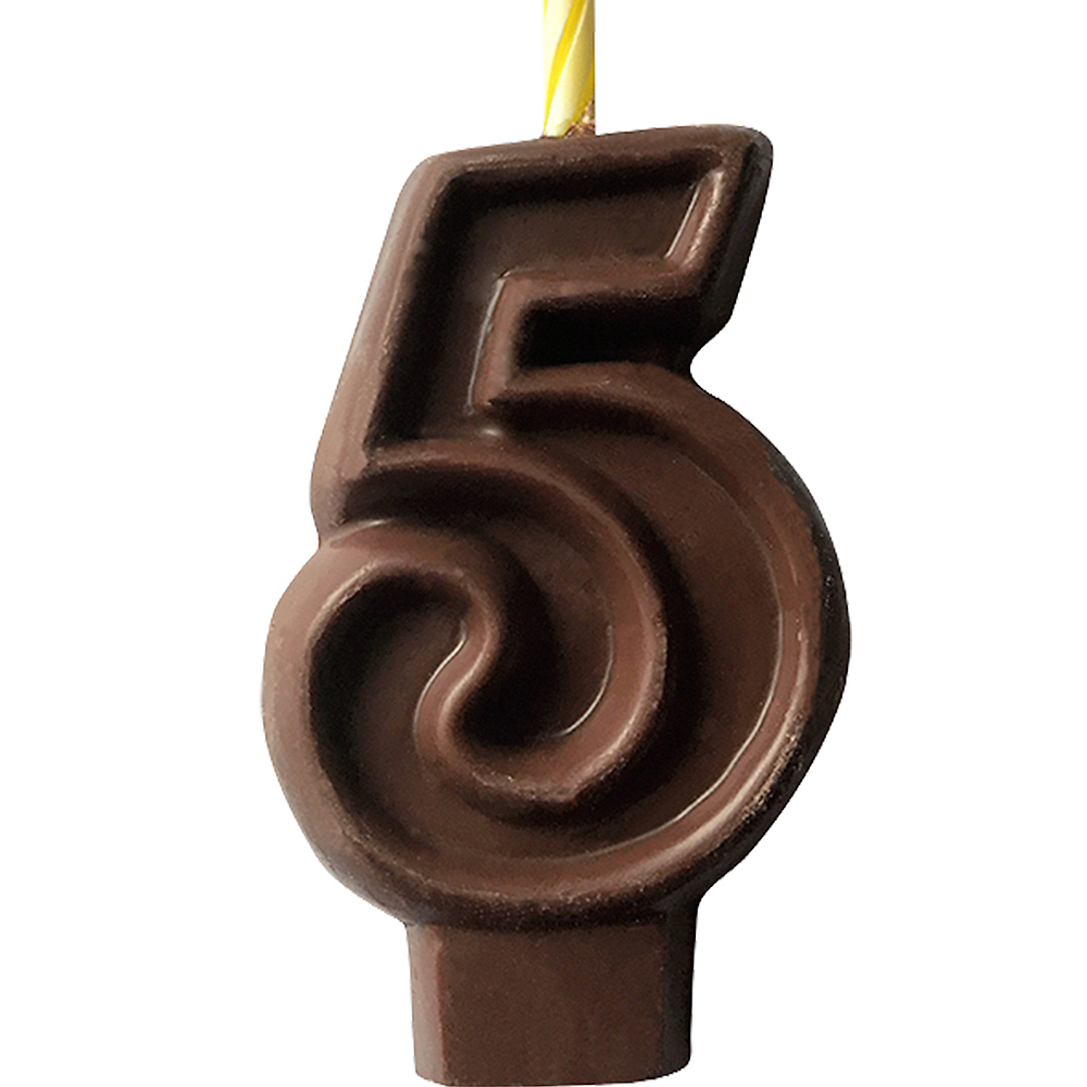 Edible Chocolate Flavored Number 5 Cake Topper with Candle Image #1