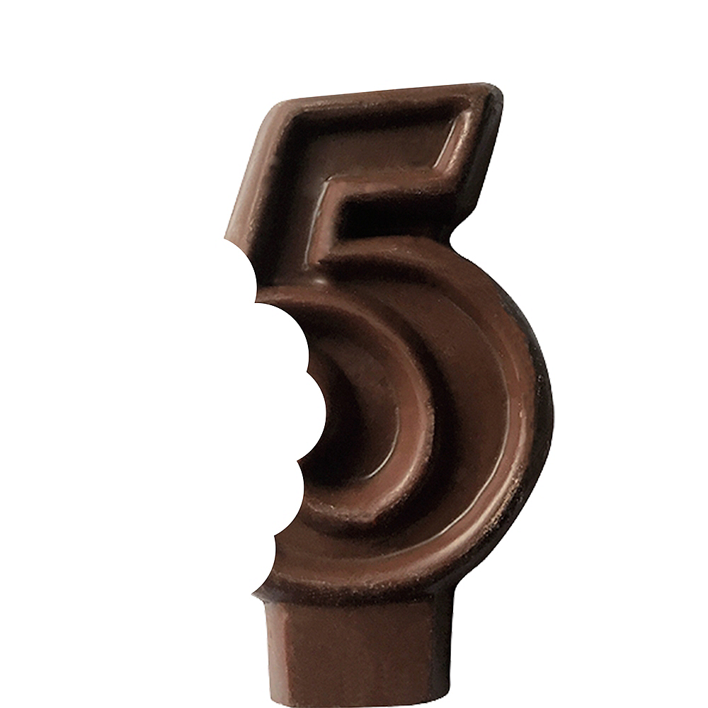 Edible Chocolate Flavored Number 5 Cake Topper with Candle Image #2