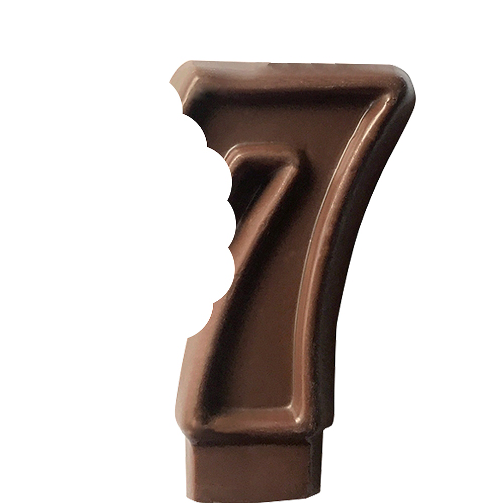 Edible Chocolate Flavored Number 7 Cake Topper with Candle Image #2