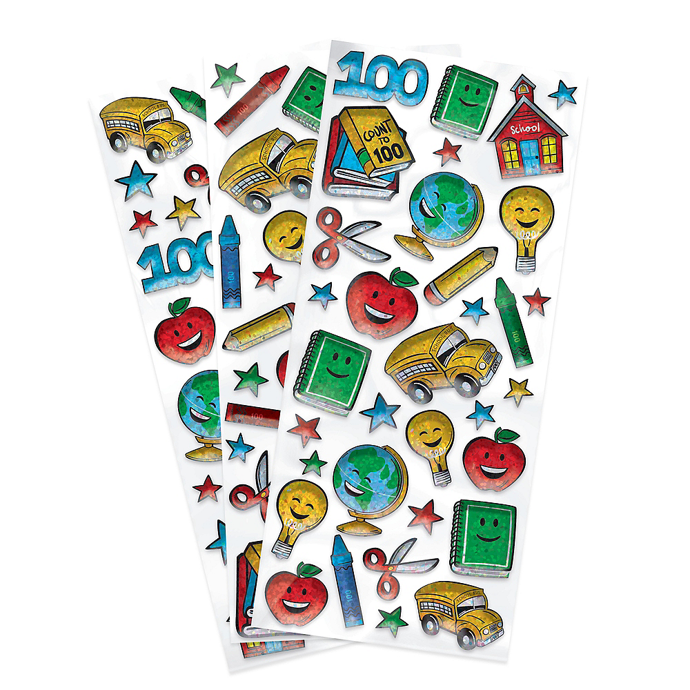 Prismatic 100th Day of School Puffy Stickers 3 Sheets Image #1