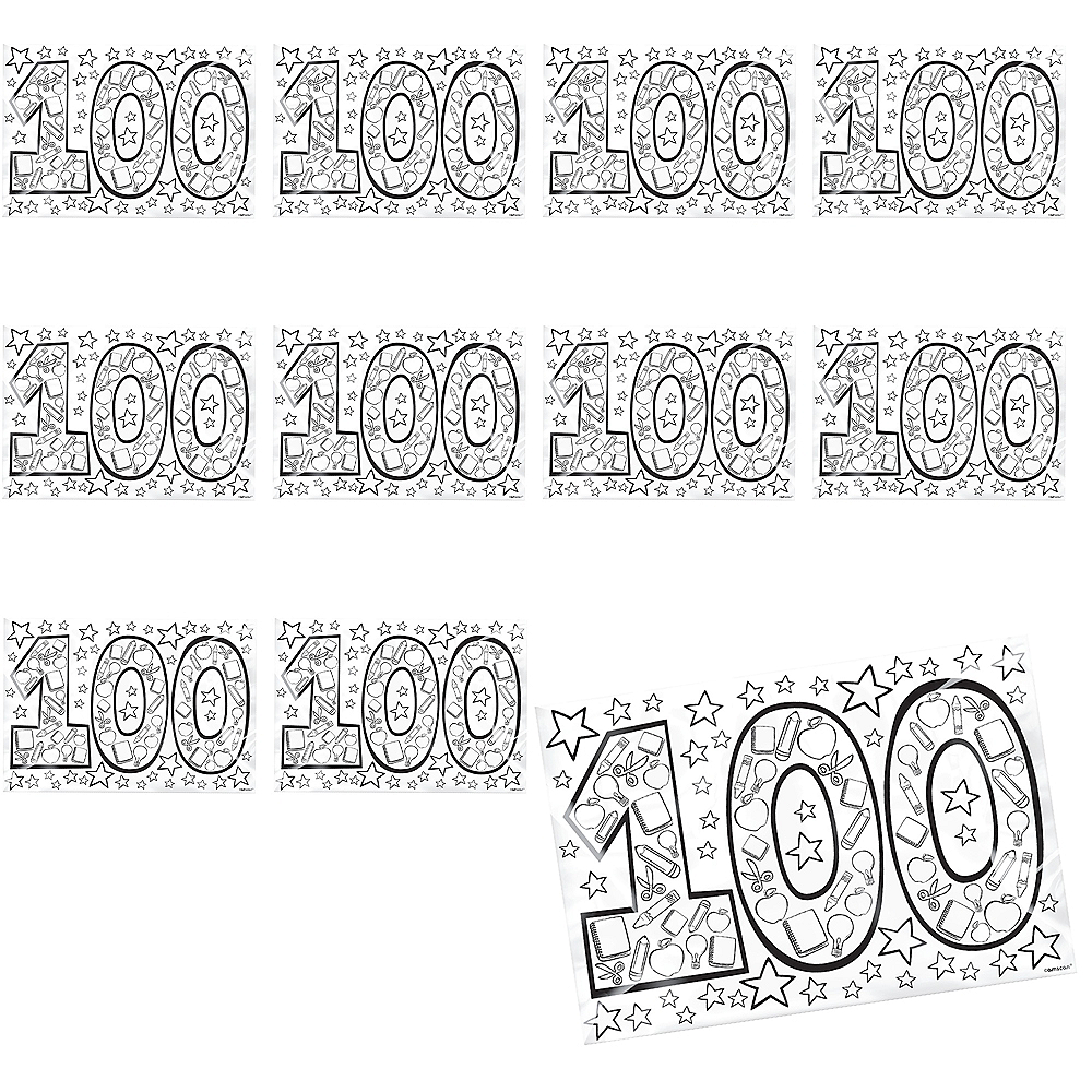 100th Day of School Coloring Pages 36ct Image #1