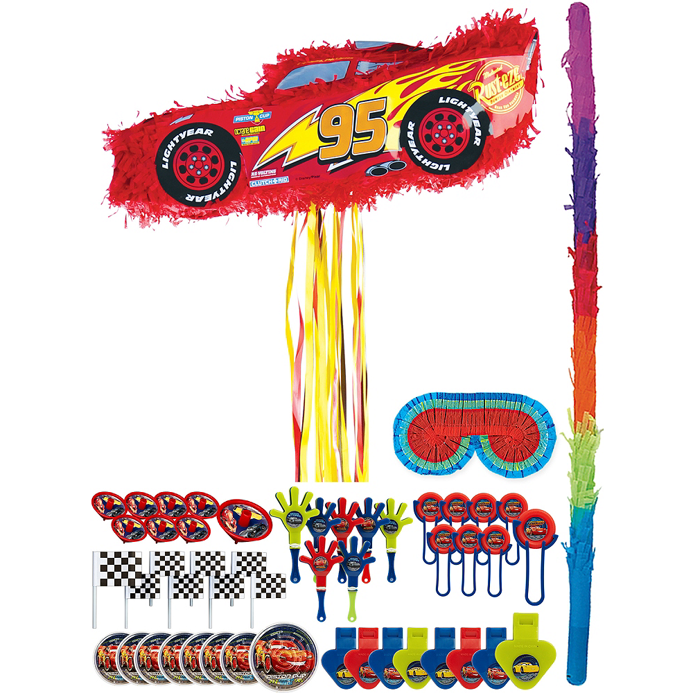 Lightning McQueen Car Pinata Kit with Favors - Cars 3 Image #1