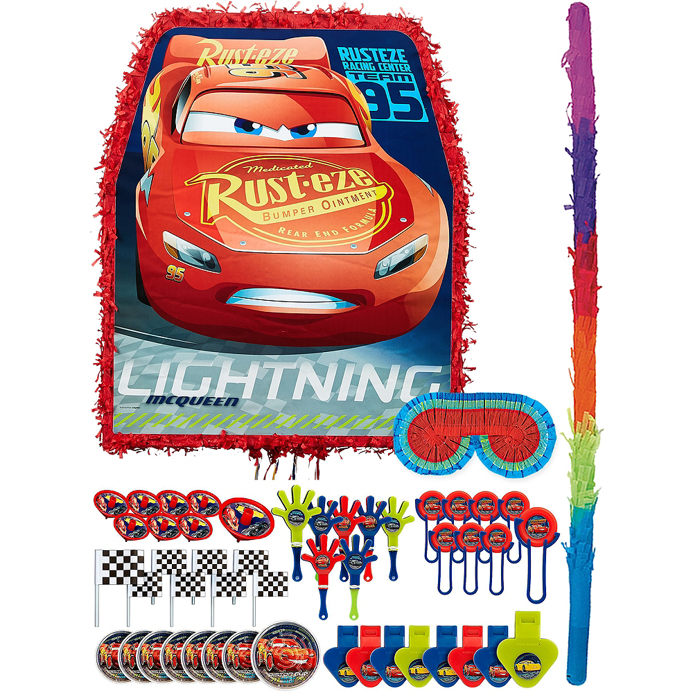 Lightning McQueen Pinata Kit with Favors - Cars 3 Image #1
