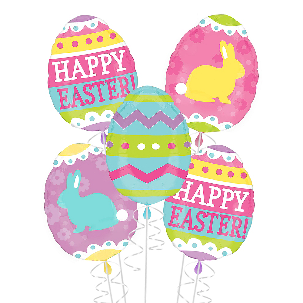 Easter Egg Balloon Bouquet 6pc Image #1