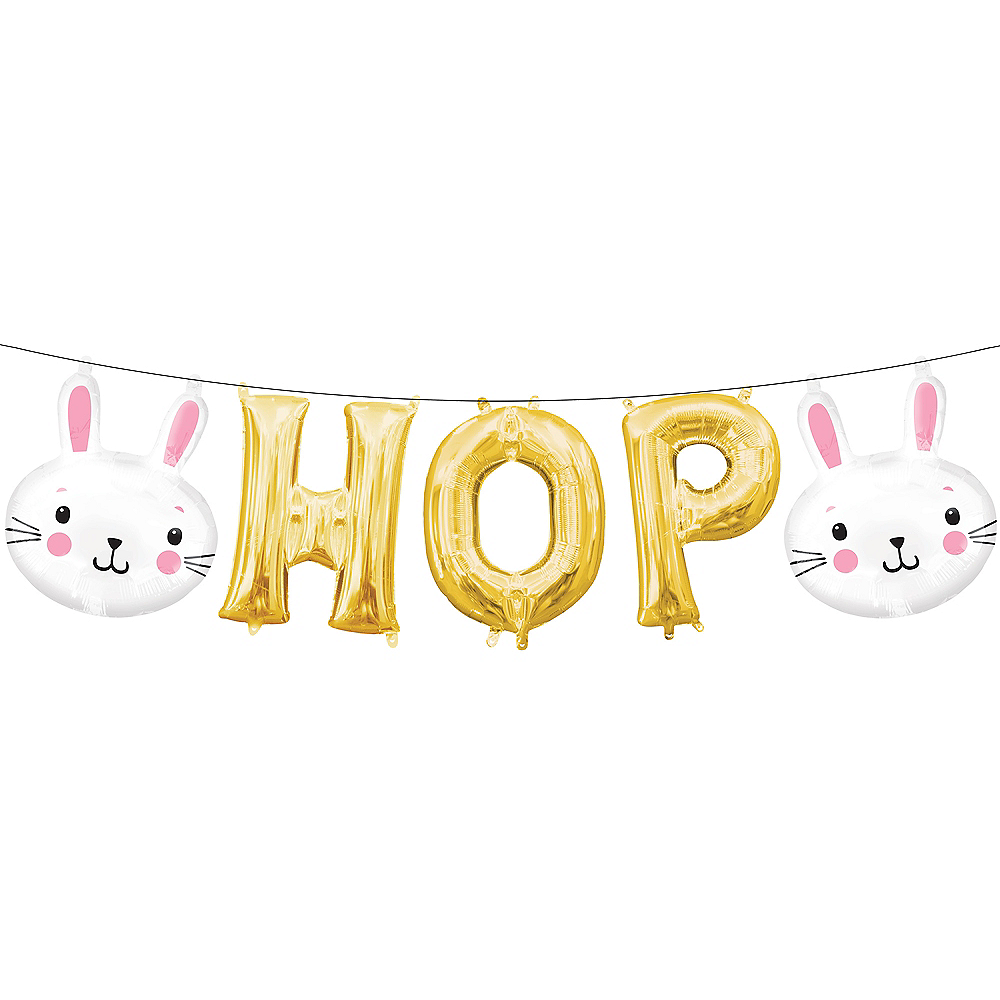 Air-Filled Easter Bunny Hop Letter Balloons 5pc Image #1