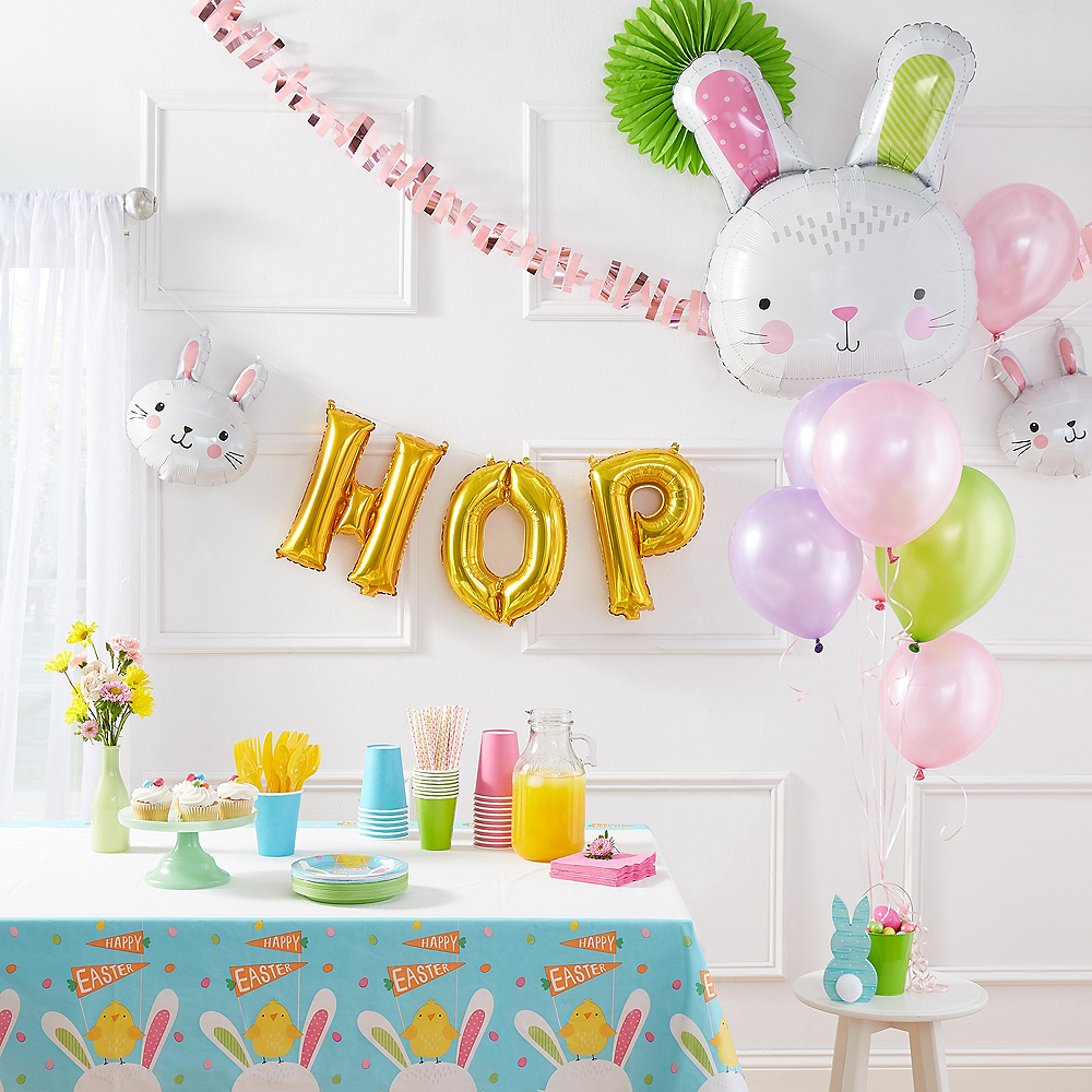 Air-Filled Easter Bunny Hop Letter Balloons 5pc Image #2