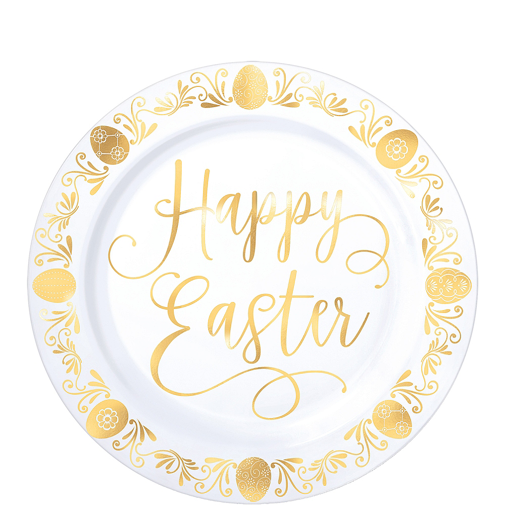 Nav Item for Metallic Gold Easter Premium Plastic Dessert Plates 20ct Image #1